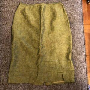 Green linen pencil skirt sz 2